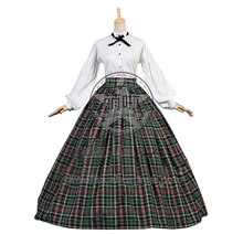 Dickens Country Plaid Tartan Victorian Gothic Ball Gown Period Lolita Dress Costume With Fashional Sleeves Elegant For Halloween