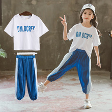 Girls suit 2019 new childrens summer letters casual sports T-shirt + pants clothing