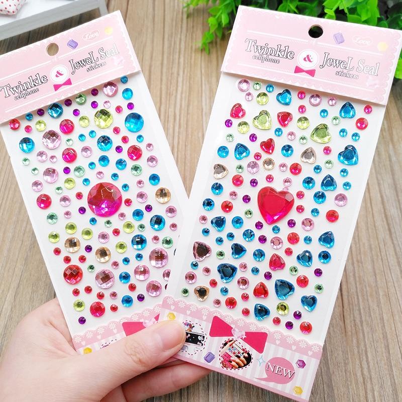 Heart-shaped diamond crystal stickers DIY handwork accessories decorative rhinestone sticker kindergarten kids girls toys gift 1
