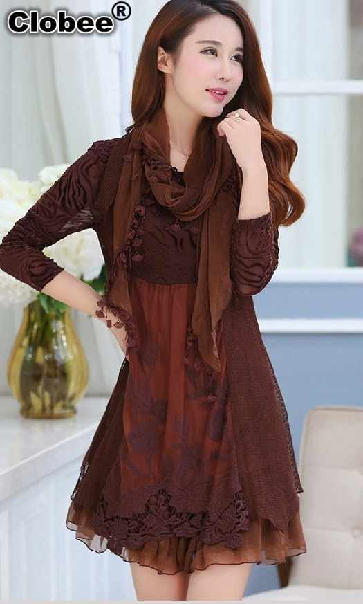 dresses fall winter lace middle age mother dress plus size women clothing  long sleeve A- 40e306d18eea