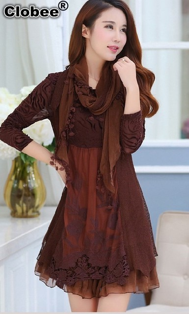 dresses fall winter lace middle age mother dress plus size women clothing long sleeve A-line vintage dress dames kleding J130
