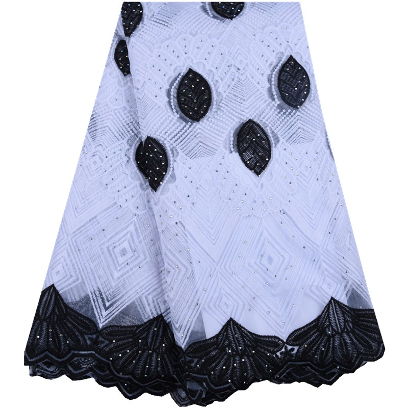 Whitr Black 2019 High Quality Nigerian Milk Lace Fabrics For Wedding Party Latest African French Silk