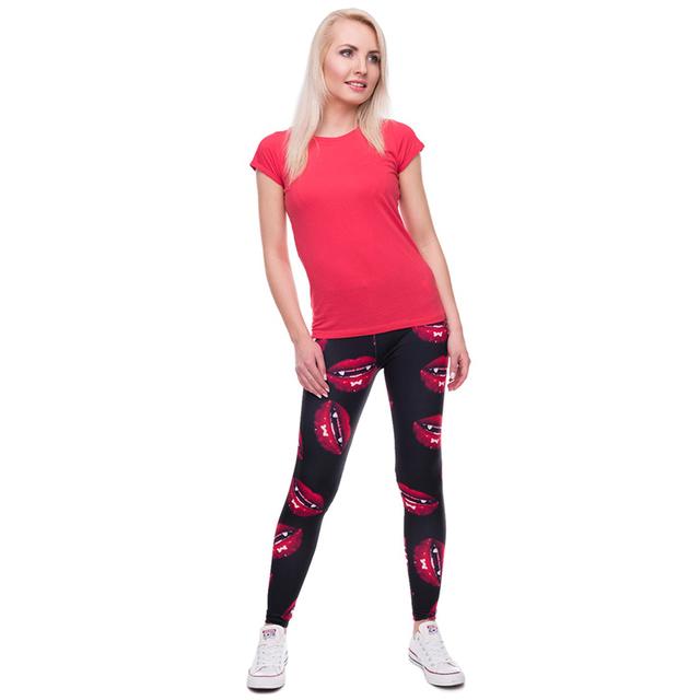 2017 Women 3D vampire lips Leggings Women/Girls Funny Skinny Leggings Jeggings Pants Basic Casual Leggins Female