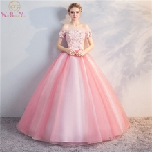 Pink Prom Dresses Boat Neck Ball Gown Short Sleeves Floor Length Tulle With 3D Flowers And Beading Lace-up Back Evening Dresses navy lace hollow out short sleeves mini dresses with lace up design
