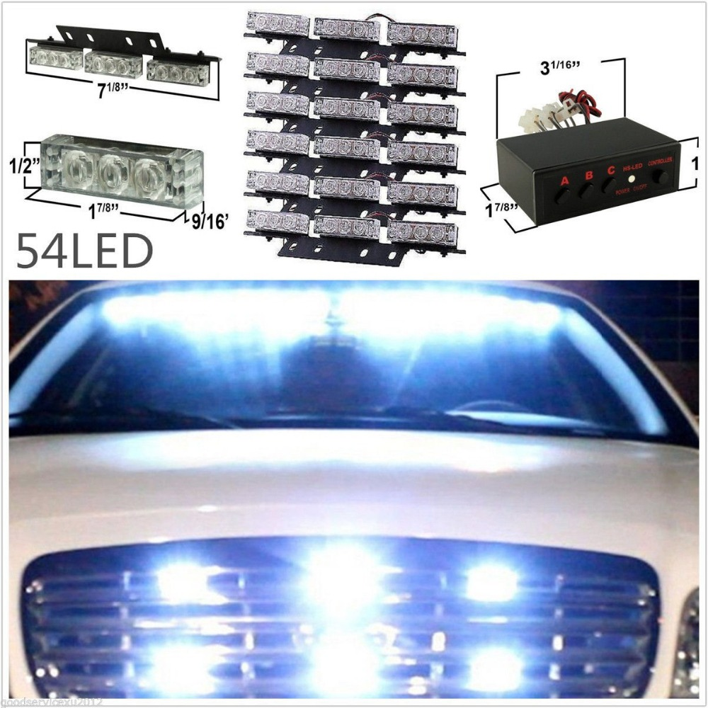 54 LED White Car SUV Deck / Dash / Grille Emergency Warning Strobe Lights 6 Bars