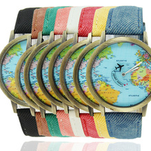 FUNIQUE Bronze World Map Flight Airplane Watch Travel World Denim Strap Quartz Watches Women Dress Wristwatch Gifts