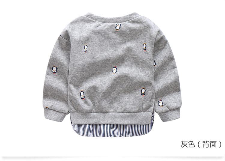 2018 Spring Autumn 2-10 Years Old Children Long Sleeve Cartoon Animal Print Patchwork Fake 2 Pcs Kids Basic Sweatshirt Baby Boy (10)
