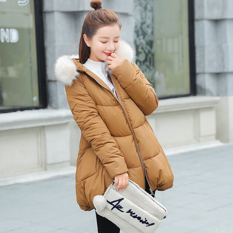 Warm and comfortable women Cotton coat loose thick large cotton clothing Raccoon Fur large fur collar cute Winter women 39 s jacket in Parkas from Women 39 s Clothing