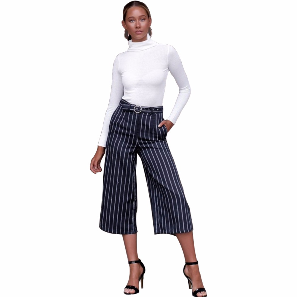 New hot European and American fashion personality casual high waist vertical stripes loose women   wide     leg     pants