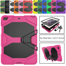 For Apple iPad Mini 1/2/3 7.9 inch Retina Kids Baby Safe Armor Shockproof Heavy Duty Silicone Hard Case Cover Screen Protector new for ipad mini 4 cases flowers kids baby safe silicone cover shell armor shockproof heavy duty hard tablet case stylus pen