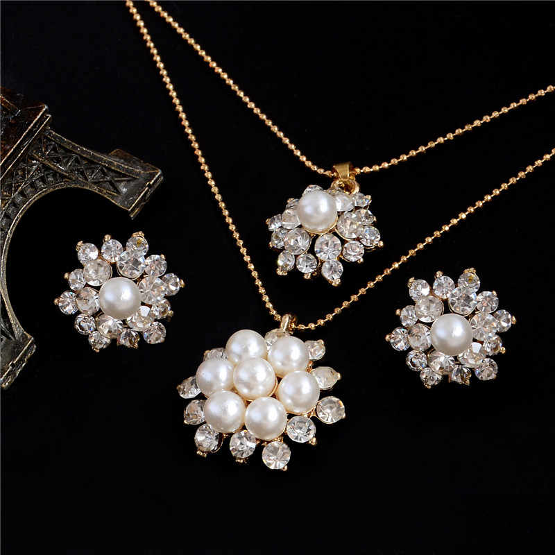 Hesiod Exquisite Flower Simulated Pearl Jewelry Sets Gold Color Chain Rhinestone Crystal Pendant Necklace Earrings Sets