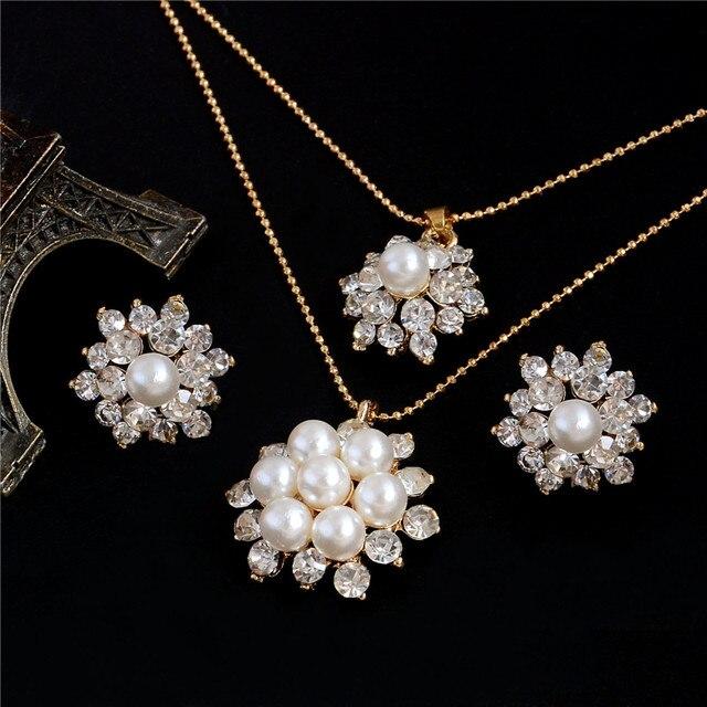 שהסיודוס מעודן פרח סימולציה פרל תכשיטי סטי זהב צבע שרשרת ריינסטון קריסטל שרשרת תליון עגילי סטים