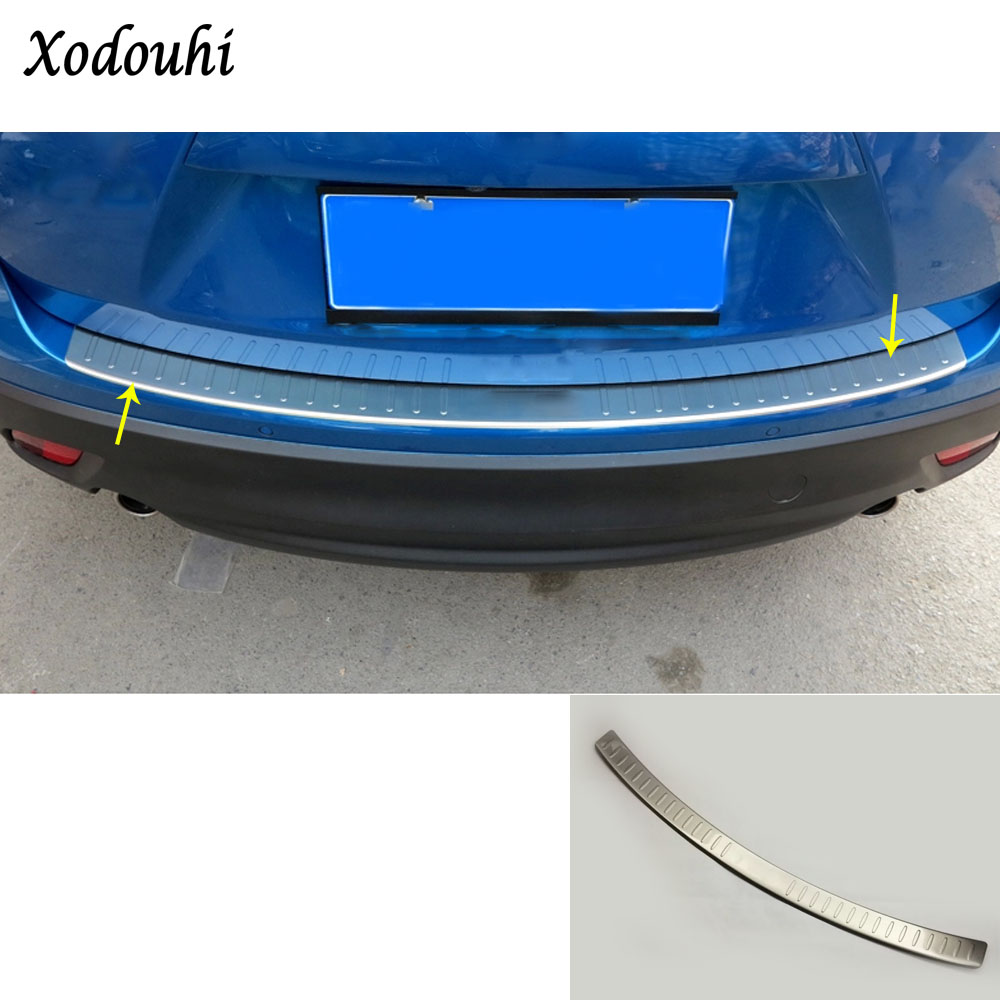 For Mazda CX-5 CX5 2013 2014 2015 2016 car body external Rear Bumper Protect trim cover detector Stainless Steel plate pedal stainless steel car racing grills for mazda cx 5 2013 2016 front grill grille cover trim car styling