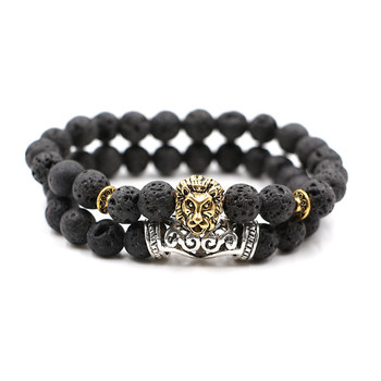 Lion Bead Bracelet Beaded Black Lava Stone Prayer Beads Buddha Bracelet