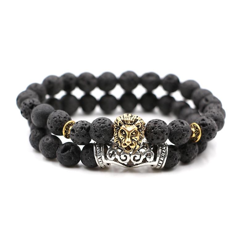 2pcs set Men lion Bead Bracelet Beaded Black Lava Stone Prayer Beads Buddha Bracelet set for Women and Men's Pulseras Masculina