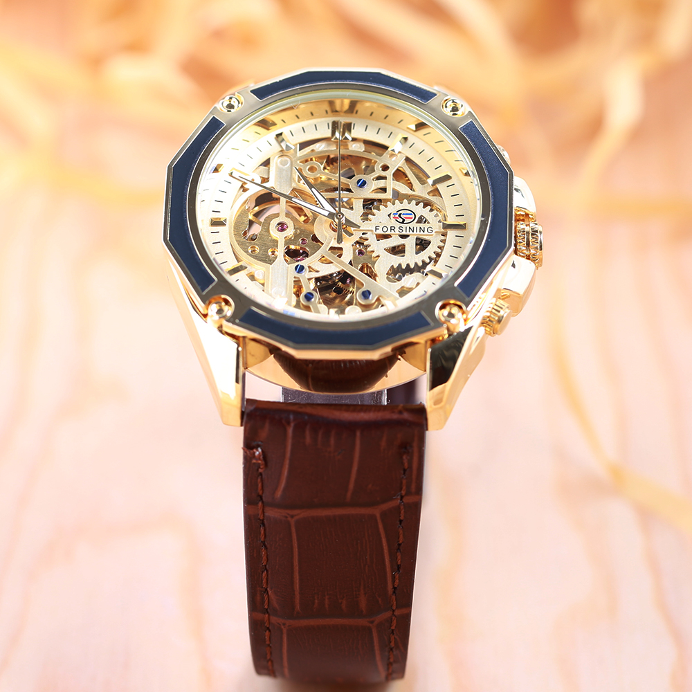 FORSINING Business Men Automatiska Mekaniska Watch Leather Strap - Herrklockor - Foto 5