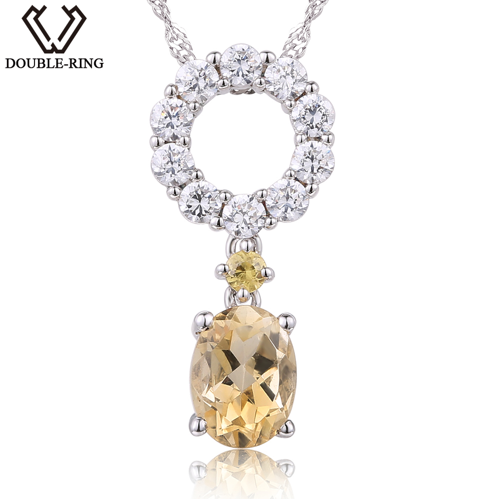 DOUBLE-R 1.2 ct Natural Citrine Pendant Female 925 Sterling Silver Necklace Classic Mother Gift Real Womens Jewelry Customized