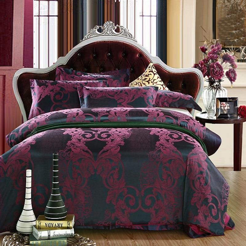 luxury jacquard plum brown bedding set silk satin adult. Black Bedroom Furniture Sets. Home Design Ideas