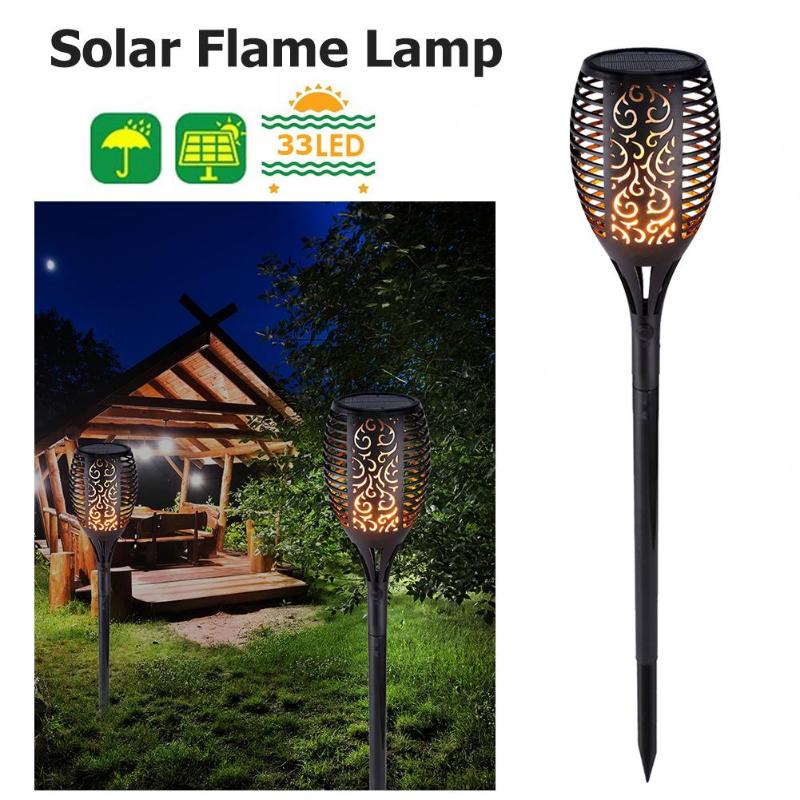 33LED Light Control Solar Flame Light Outdoor Waterproof Garden Decoration Torch Lamp Dance Flame Light For Courtyard Balcon