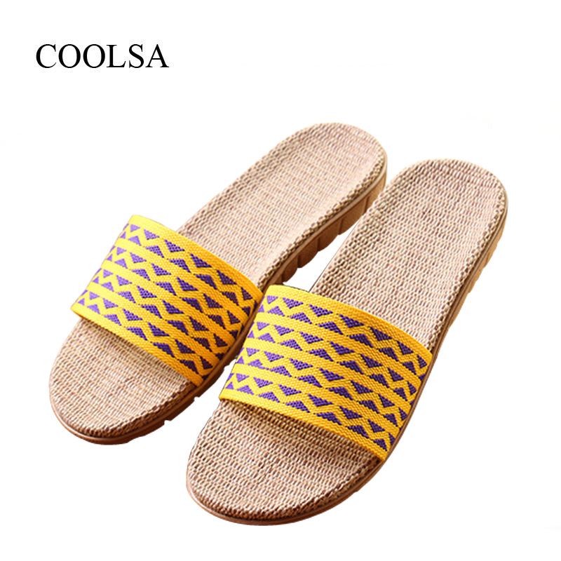 COOLSA Women's Summer Wave Pattern Non-slip Canvas Vamp Linen Slippers Breathable Indoor Home Slippers Women's Beach Flip Flops coolsa women s summer flat non slip linen slippers indoor breathable flip flops women s brand stripe flax slippers women slides