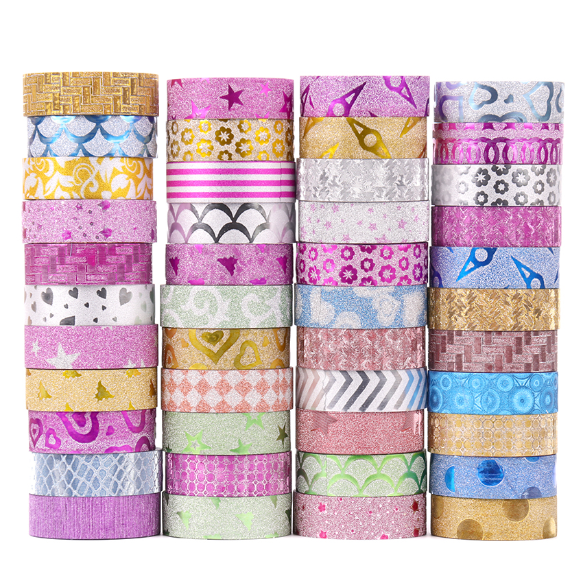10PCS Cute Kawaii Glitter Masking Washi Tape Decorative Adhesive Tape Decor DIY Scrapbooking Sticker Label Stationery