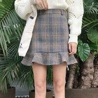 Autumn Winter Ladies Temperament High Waist Plaid Skirt All Match Lattice Fishtail Skirt Ruffles Skirt A