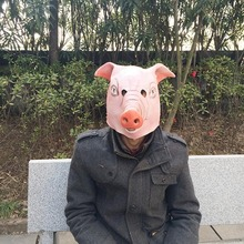 Silicone Rubber Costume for Adults Funny Latex Pig Full Face Mask Cute Animal Head Halloween Masquerade Party Cosplay Masks