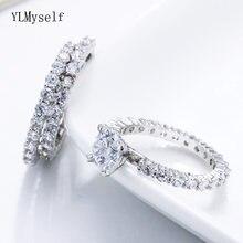 3 шт набор колец для свадьбы яркие кубические циркониевые камни