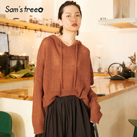 Samstree Knitted Hooded Pullovers Solid Color Loose Autumn Tops Drawstring Drop Shoulder Simple Sweaters