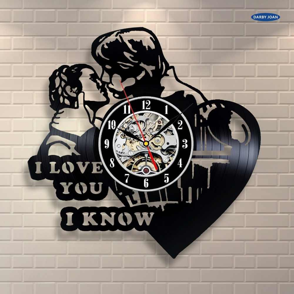 Princess Leia Han Solo I Love You Vinyl Record Clock Home Decor Wall Art duvar saati
