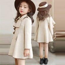 Шерстяное пальто для девочек Новинка года, осенне-зимнее длинное шерстяное пальто в Корейском стиле для больших мальчиков