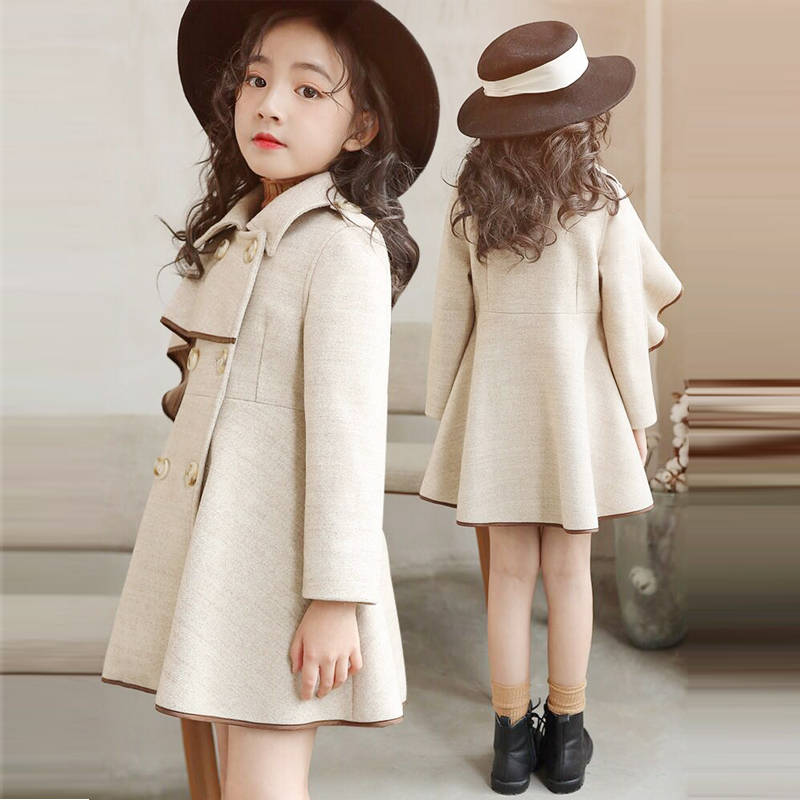 Girl's Woolen Coat Jacket Autumn And Winter 2019 New Korean Version Of The Big Boy Long Section Plus Velvet Thick Woolen Coat