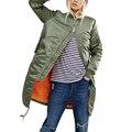 Зима длинные куртки и пальто 2017 весна женские пальто вскользь военно-оливково-зеленый бомбардировщик куртка женщин основные куртки плюс размер