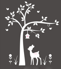 New arrival White Tree with Deer, Birdhouse-Nursery  Wall Decal stickers Art - Baby