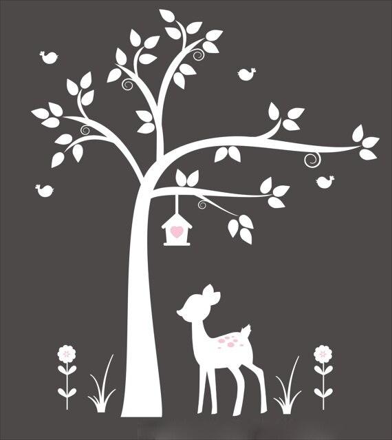 Nouveauté arbre blanc avec cerf, nichoir-pépinière arbre blanc stickers muraux Art-bébé stickers muraux