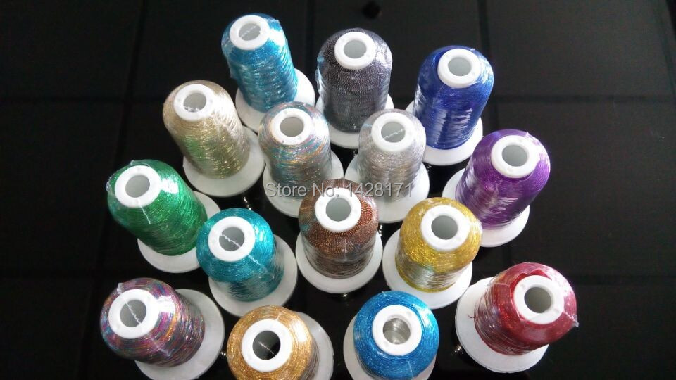 Simthread Brand hot selling Brother color list 15 popular colors 500m metallic embroidery thread with free shipping.