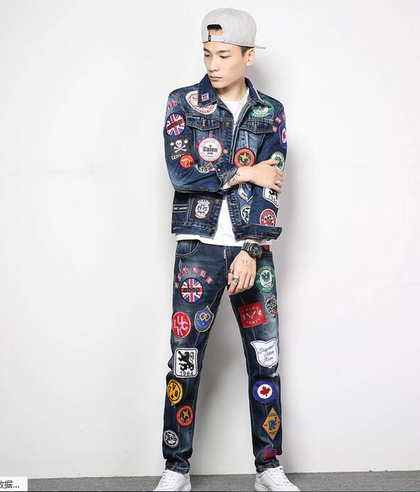 Badge denim jacket male Slim youth Chinese style personality tide brand star with the street dance suit autumn and winter models