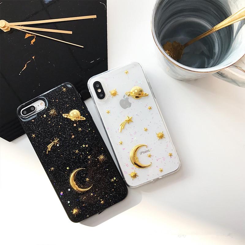 3D Mond sterne Bling Glitter phone Cases für iphone 7 7 Plus Raum planet Weicher silikon-kasten Für iphone X 6 6 s 6 splus 8 8 plus