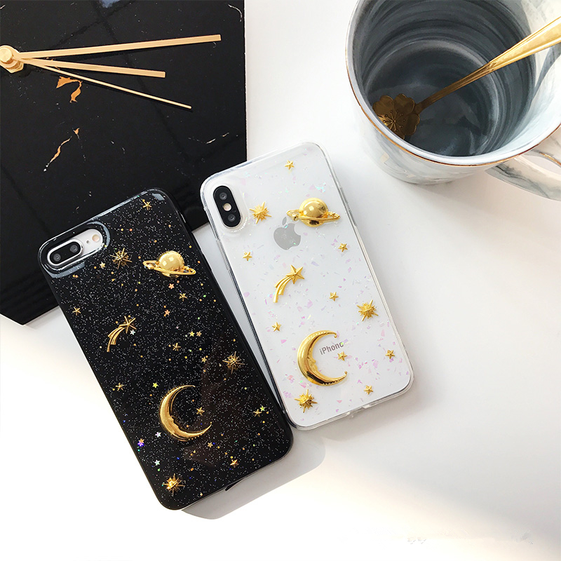 3D Moon stars Bling Glitter phone Cases for iphone 7 7Plus Space planet Soft silicon Case For iphone X 6 6s 6splus 8 8plus