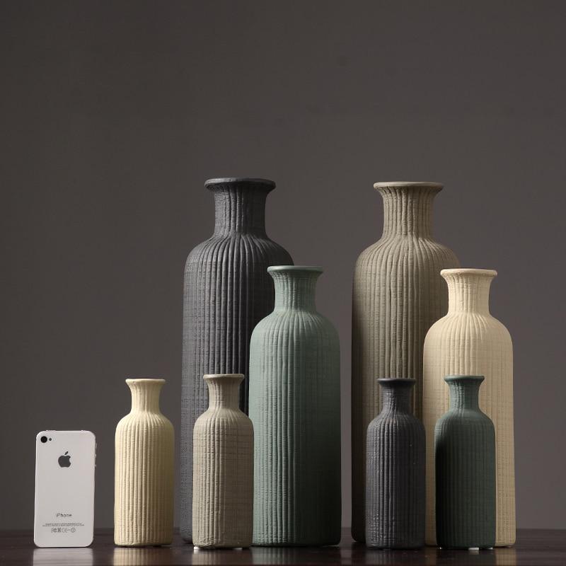 Modern Simple Ceramic Vase Fashion retro flower arrangement household decorations stripe Crafts wedding decor tabletop accessori in Vases from Home Garden