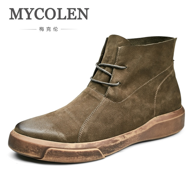 MYCOLEN 2018 Brand Shoes Light Weight Men Boots Genuine Leather Ankle Boots Casual Lace-Up Men Shoes Handmade Boot Stivali new 28 color casual boot genuine leather flats shoes shoelace shoes boot lace shoes strap shoeslaces 500pairs lot via dhl ems