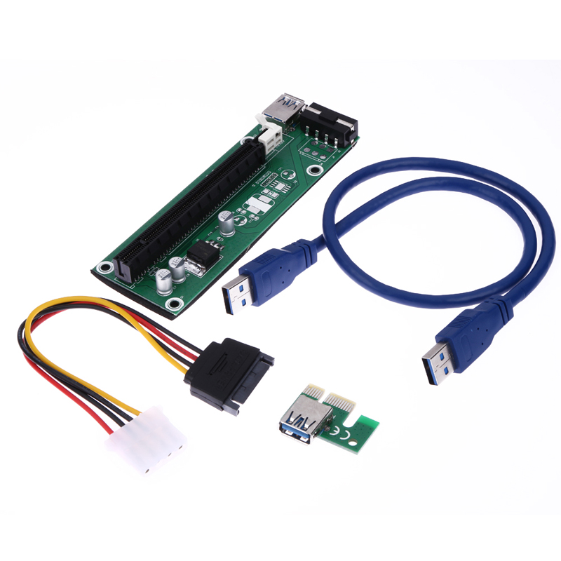 Hot In russia USB 3.0 PCI-E Express 1x to 16x Extender Riser Card Adapter SATA to 4pin IDE molex Power Cable for Mining black 0 6m pci express pci e 1x to 16x riser card adapter pcie extender with usb 3 0 cable sata to 4pin ide molex power cord