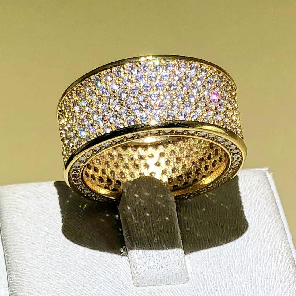 Luxurious Jewelry Paragraph 925 Silver Gem stone Rings Finger Shining 320pcs CZ Full Diamant Gold Ring for Women Men