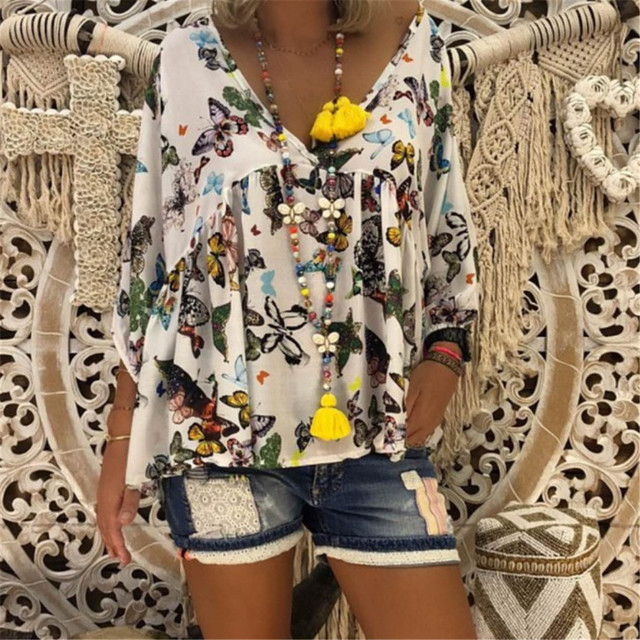 38e649e09a8 2018 Women S Blouse Plus Size Sexy V Neck Floral Print Flare Sleeve Belted  Surplice Peplum Tops And Blouse Blusas Feminina