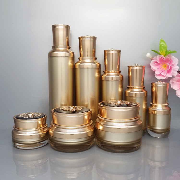 Retro Classic Dark Gold Cosmetics Sub Acrylic 15/30/50/100/120ML Lotion Pump Bottle 15/30/50G Acrylic Cream Jar 8pcs 1Suit high quality pearl white acrylic cream jar gold cap empty cosmetic container jar lotion pump bottle 30g 50g 30ml 50ml 120ml