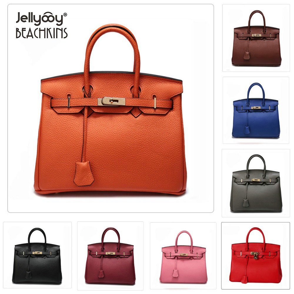 Jellyooy Beachkins Women's Classic Genuine Leather Flap Cover Handbags With Gold Hardware 30/35CM Luxury Cow Leather Handbag 247 classic leather