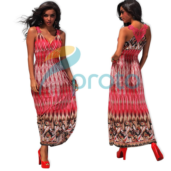 M XXL Plus Size 2013 Sexy Fahion V Neck Empire Bohemian Maxi Summer Casual Dress Long Beach Dress with Embroidery Back 4188