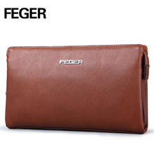 FEGER code lock genuine leather handy clutch bag fashion business man password phone clutch wallet