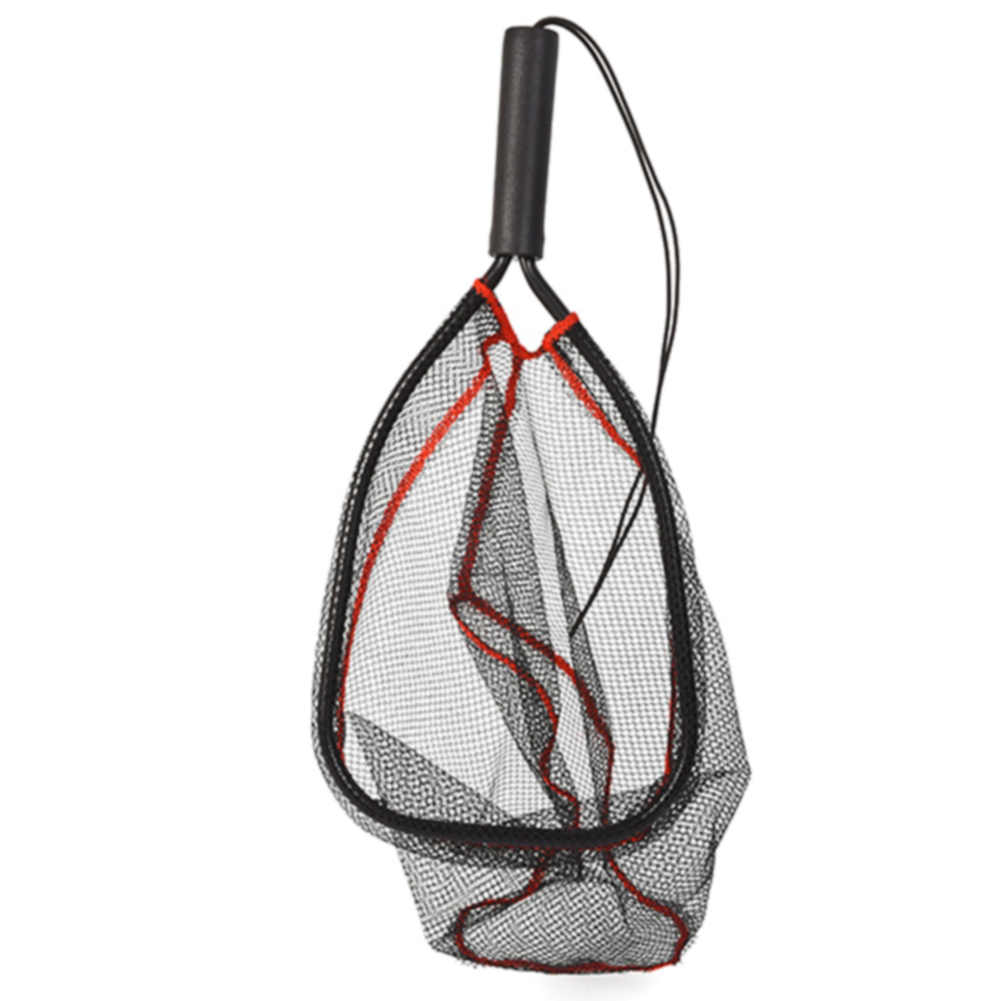 Handheld Aluminum Alloy Mesh Soft Fly Fishing Tools With Lanyard Monofilament Release Landing Net Catch  Folding
