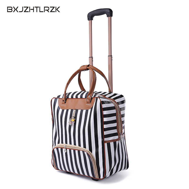 New hot fashion women luggage Carriage suitcase brand Casual striped Rolling Cas